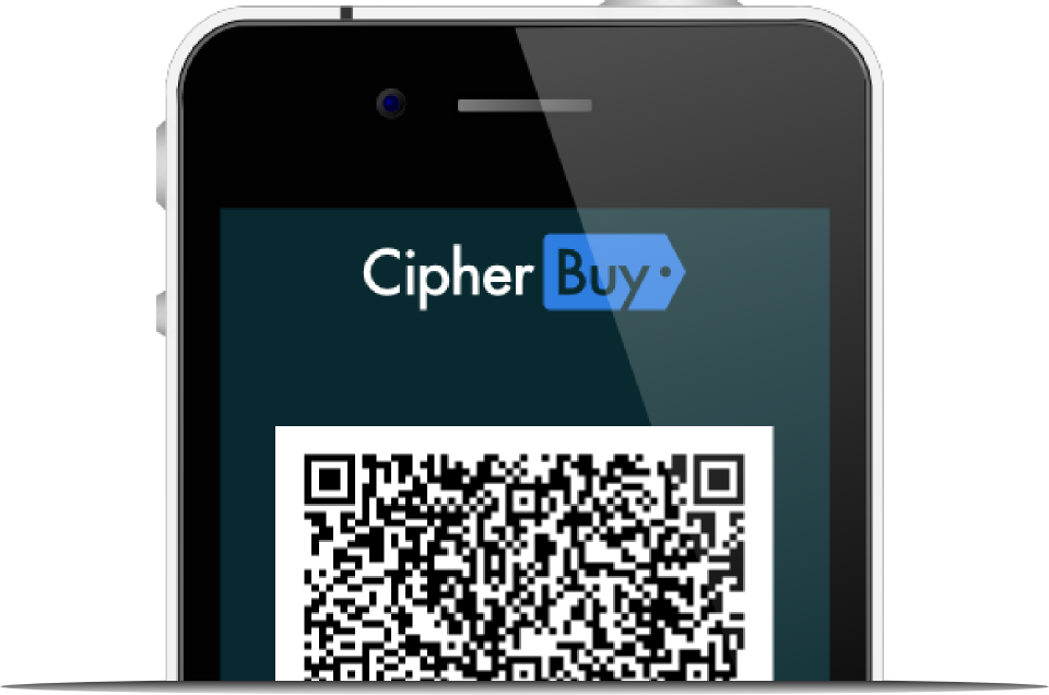 cellphone displaying cipherbuy payment credentials